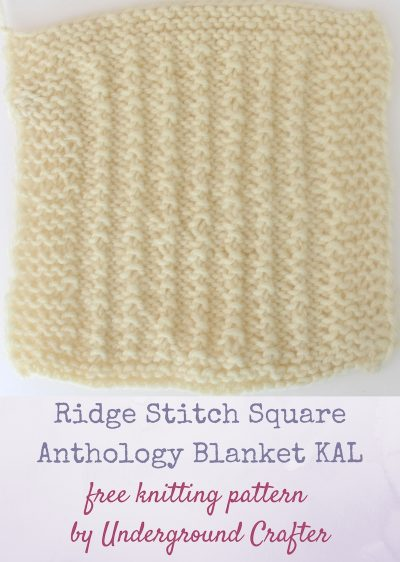 """Ridge Stitch Square, free knitting pattern by Underground Crafter 