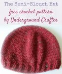 The Semi-Slouch Hat, free crochet pattern in Universal Yarn Deluxe Worsted Tweed Superwash yarn by Underground Crafter (2016 Holiday Blog Hop) | This semi-slouchy hat is a perfect commuter project. It works up quickly and is very portable, using just one skein of yarn. The tweedy yarn adds a bit of texture to the simple design. Although labeled as an intermediate pattern, an adventurous beginner can make it using the video tutorials.