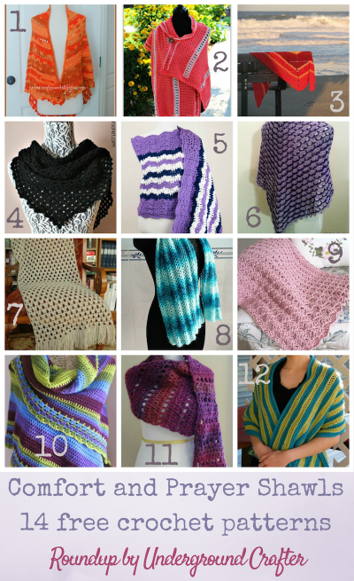 Roundup: 14 free crochet patterns for comfort and prayer shawls, curated by Underground Crafter | Comfort and prayer shawls are a great way to wrap someone in handmade love. These patterns are perfect for a loved one going through a difficult time or for donation to a variety of charities.