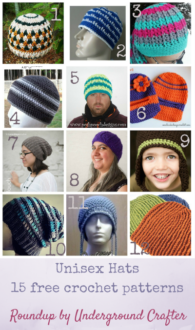 Roundup: 15 free crochet patterns for unisex hats, curated by Underground Crafter | Find your next crochet project for your favorite lady or fussy guy among these patterns for beanies, balaclava, slouchy, and chemo hats.