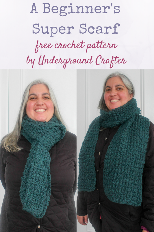 Free crochet pattern: A Beginner's Super Scarf in Knit Picks Swish Worsted by Underground Crafter | This easy mock bobble stitch creates a reversible texture. The wide, long unisex super scarf is guaranteed to keep you warm while offering an array of styling options.