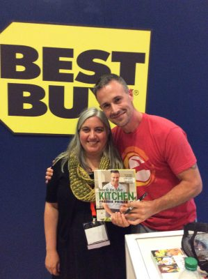 #BlogHer16 recap on Underground Crafter - Getting an autographed copy of Back to the Kitchen with Freddie Prinze, Jr. at the Best Buy booth