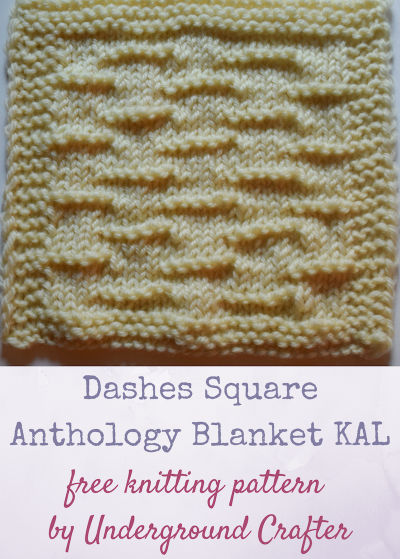 "Free knitting pattern: Dashes Square in Cascade 220 Superwash yarn by Underground Crafter | The Dashes Square features alternating horizontal purl dashes across a stockinette background. It's one of 30 free knitting patterns for 6"" (15 cm) squares in the Anthology Blanket Knit-a-Long."