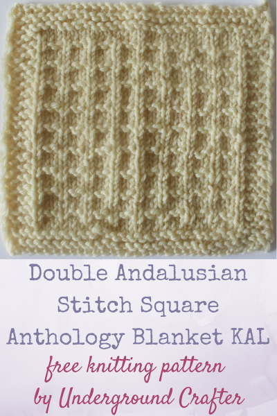 "Free knitting pattern: Double Andalusian Stitch Square in Cascade 220 Superwash yarn by Underground Crafter | This simple stitch pattern makes a delightful texture. It's one of 30 free knitting patterns for 6"" (15 cm) squares in the Anthology Blanket knit-a-long."