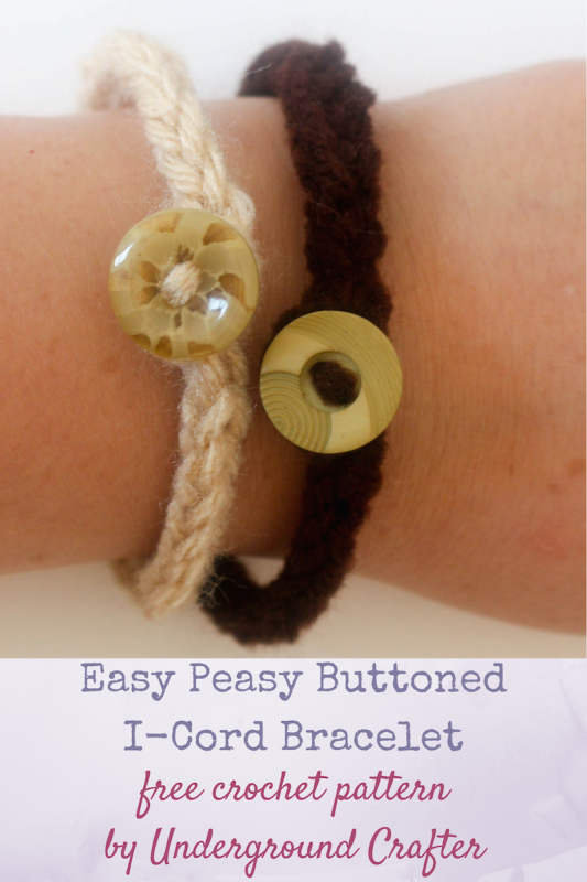 Free crochet pattern: Easy Peasy Buttoned I-Cord Bracelet in Red Heart Super Saver yarn by Underground Crafter | Practice your crochet I-Cord technique while using up yarn scraps and stash buttons to make an easy bracelet. Links to my crochet I-Cord photo tutorial!