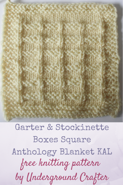 """Garter and Stockinette Boxes Square, free knitting pattern in Cascade 220 Superwash by Underground Crafter 