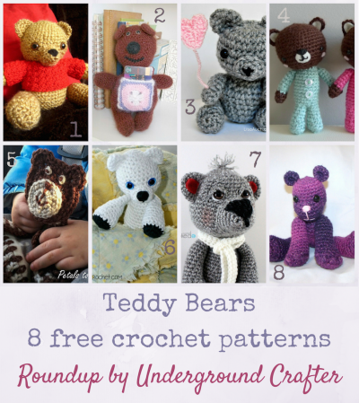 Roundup: 8 free crochet patterns for teddy bears, curated by Underground Crafter   Teddy Bears make great gifts! Find your next crochet project in this roundup of 8 free crochet patterns including amigurumi and loveys.