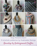 #HolidayStashdownCAL2016 sponsor spotlight on Oombawka Design - Check out this roundup of 9 crochet patterns for cozy neckwarmers by Oombawka Design. Share your completed project picture of any CAL pattern through January 9, 2016 for your chance to win 3 patterns from Rhondda's shop or other great prizes! For more information, visit http://undergroundcrafter.com/2016/01/01/announcing-the-holiday-stashdown-crochet-a-long-2016-edition/