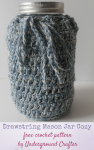 Free crochet pattern: Drawstring Mason Jar Cozy in Wool and the Gang Billie Jean by Underground Crafter | This cozy makes the perfect gift wrap for a jar mix gift. It's also a great cover for reused mason jars with label remnants. The drawstring allows you to gather it closed for both wide and regular mouth jars. It's just one of 9 crafty projects paired with cookie recipes for the (Inter)National Cookie Month Crafty Blog Hop!