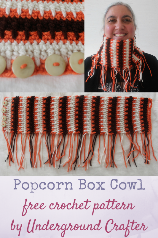Popcorn Box Cowl free crochet pattern in Red Heart Baby Hugs and Super Saver by Underground Crafter #PopcornBoxParty2016 | This boho cowl is a quick and easy project. Mix it up with different color combinations to wear in different seasons!