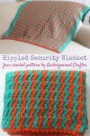Free crochet pattern: Rippled Security Blanket in Red Heart Baby Hugs Medium by Underground Crafter | This beginner-friendly ripple pattern makes a cozy blanket that's perfect for a child to cuddle under. This blanket is designed to meet the donation requirements for Project Linus, a charity that provides handmade blankets to critically ill children.