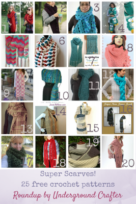 Roundup: 25 free crochet super scarf patterns, curated by Underground Crafter | Looking for your first (or next) #superscarf project? Check out this roundup, featuring 25 free crochet patterns along with some premium patterns and links to crochet and knitting super scarf roundups!