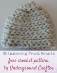 Free crochet pattern: Shimmering Frost Beanie in Bernat Mega Bulky and Kreinik Twist by Underground Crafter | Crocheting in the back loop of half double crochet stitches mimics the look of the stockinette stitch in knitting. Holding a jumbo yarn with a metallic thread in a different color creates a gentle shimmer on the surface of this hat. This pattern is part of the 2016 Holiday Blog Hop.