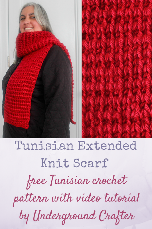 Free Tunisian crochet pattern: Tunisian Extended Knit Scarf with video tutorial by Underground Crafter   This stitch creates a warm and elegant pattern that resembles the stockinette stitch in knitting. The Tunisian Purl Stitch borders and the Extended Knit Stitch make this Tunisian crochet project unlikely to curl. This scarf is designed to meet the donation requirements of the Red Scarf Project, a program of Foster Care to Success which provides care packages to foster youth in colleges and training programs.