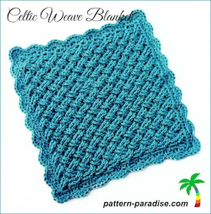 Celtic Weave Blanket, free crochet pattern by Pattern Paradise | 12 free crochet patterns for baby blankets, roundup curated by Crochet Pattern Bonanza for Underground Crafter. Crocheted baby blankets are perfect for keeping your little ones super cozy in the cold winter weather. They are not only great for the crib, but they also make for excellent covers in the stroller, or in the car. And to make them super cozy, you can always line them with a cotton or fleece material.