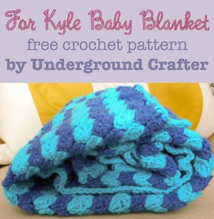 For Kyle Baby Blanket, free crochet pattern by Underground Crafter | 12 free crochet patterns for baby blankets, roundup curated by Crochet Pattern Bonanza for Underground Crafter. Crocheted baby blankets are perfect for keeping your little ones super cozy in the cold winter weather. They are not only great for the crib, but they also make for excellent covers in the stroller, or in the car. And to make them super cozy, you can always line them with a cotton or fleece material.