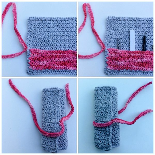 Free crochet pattern: Grit Stitch Manicure Roll by Underground Crafter #SpaBasketCAL | This simple stitch pattern creates a sturdy but textured manicure roll. This pattern is part of the Spa Basket CAL. Be sure to enter the giveaway for your chance to win prizes from our sponors.