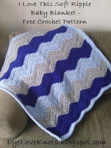 I Love This Soft Ripple, free crochet pattern by Eye Love Knots | 12 free crochet patterns for baby blankets, roundup curated by Crochet Pattern Bonanza for Underground Crafter. Crocheted baby blankets are perfect for keeping your little ones super cozy in the cold winter weather. They are not only great for the crib, but they also make for excellent covers in the stroller, or in the car. And to make them super cozy, you can always line them with a cotton or fleece material.
