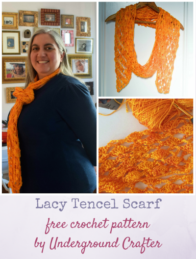 Lacy Tencel Scarf, free crochet pattern by Underground Crafter in Teresa Ruch Designs Tencel 3/2 yarn | A simple, delicate lace pattern and the soft tencel yarn combine to create a transitional weather scarf with excellent drape.