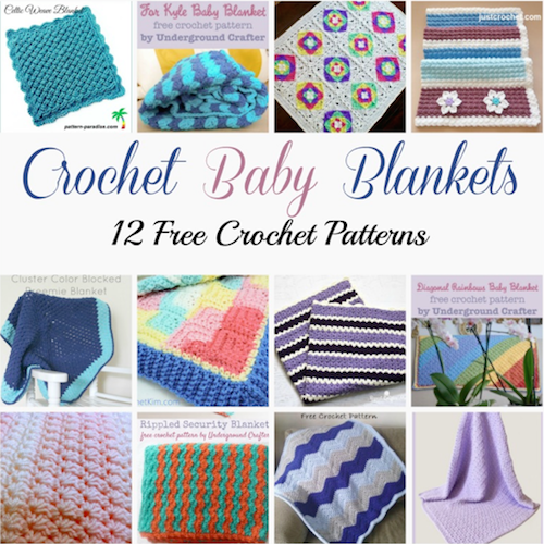 12 free crochet patterns for baby blankets, roundup curated by Crochet Pattern Bonanza for Underground Crafter. Crocheted baby blankets are perfect for keeping your little ones super cozy in the cold winter weather. They are not only great for the crib, but they also make for excellent covers in the stroller, or in the car. And to make them super cozy, you can always line them with a cotton or fleece material.