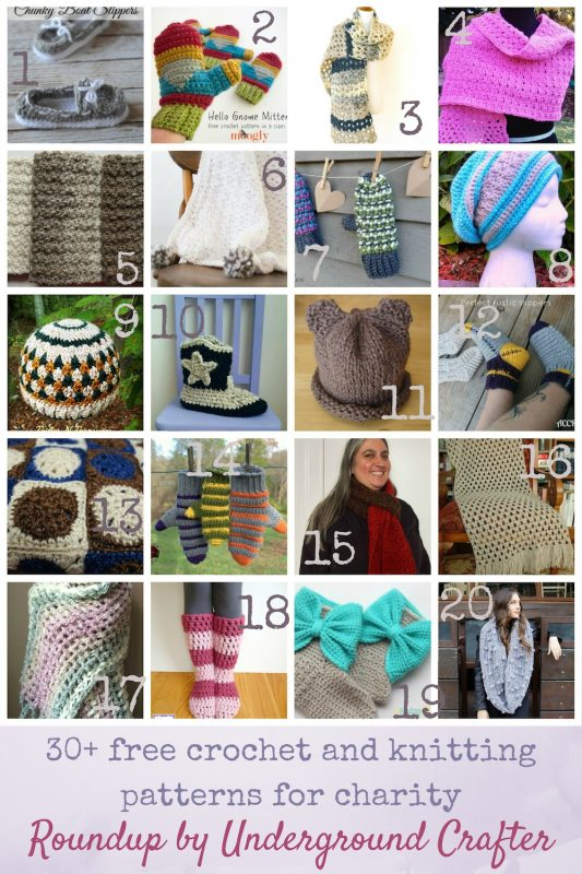 Find your next project in this roundup of 30+ free crochet and knitting patterns for charity including scarves, mittens, slippers, blankets, and shawls.