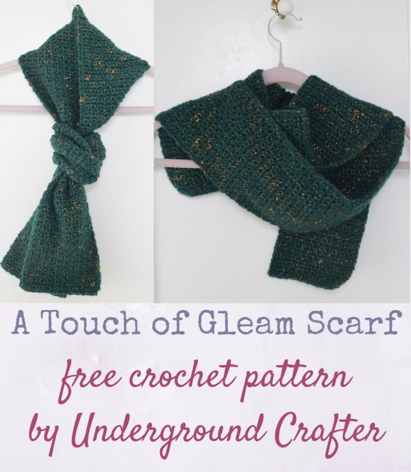 A Touch of Gleam Scarf, free crochet pattern in Red Heart Gleam yarn by Underground Crafter | A simple stitch pattern highlights the gleaming metallic threads wrapped around this yarn. The beginner-friendly stitch creates a dense and warm crochet fabric that's perfect for fighting off the bitter chill of a windy day.