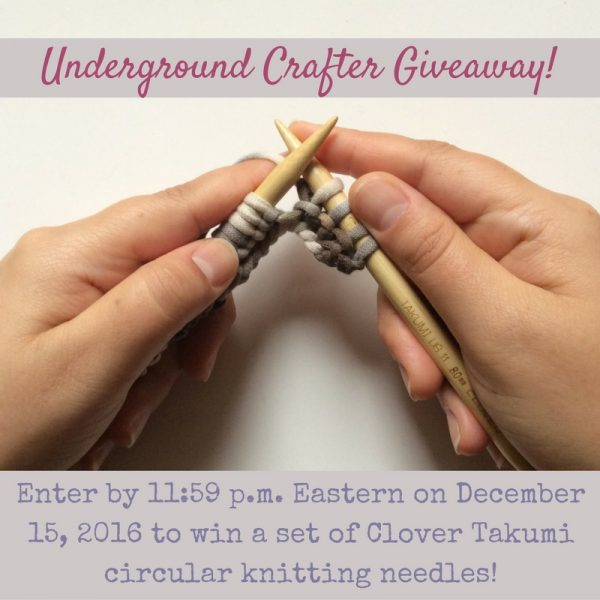 Clover Takumi circular knitting needles giveaway on Underground Crafter | Enter through December 15, 2016 for your chance to win a pair of Clover Takumi circular needles in your choice of size.