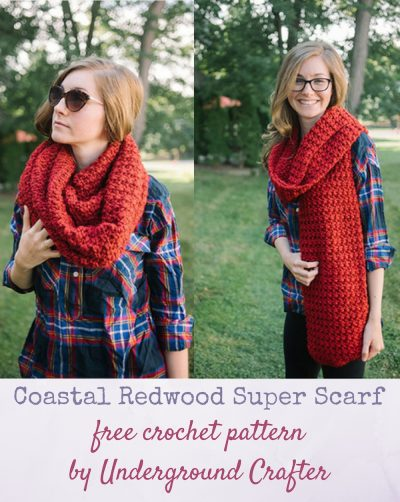 Free crochet pattern: Coastal Redwood Super Scarf in Lion Brand Heartland Thick & Quick by Underground Crafter | My inspiration for this super scarf pattern was the redwood, a species of super tall and long-lived tress that thrive in the Northern Coast of California. Like its namesake tree, this scarf is ultra long and will definitely be noticed. This luxuriously long scarf has a gentle, unisex texture made with a beginner-friendly stitch pattern.