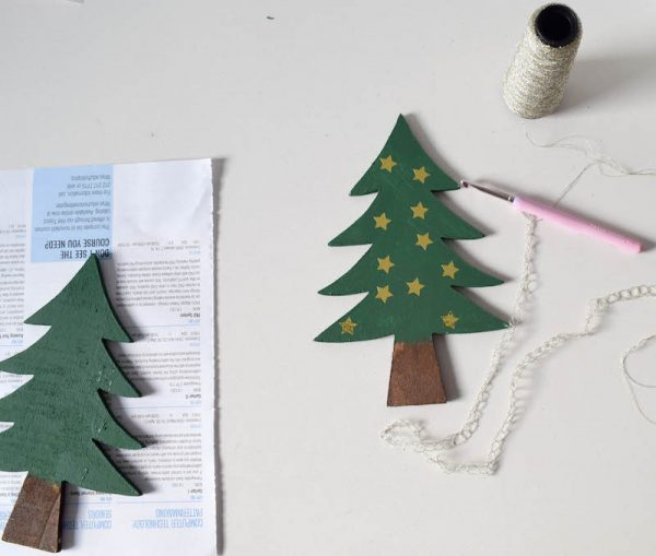DIY Christmas Tree Decoration tutorial by Underground Crafter | Transform these unfinished wood trees into festive decorations with your favorite embellisments. Also makes a great holiday crafts project for kids!