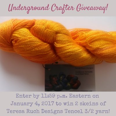 Giveaway: Enter through January 4, 2017 for your chance to win 2 skeins of Teresa Ruch Designs Tencel 3/2 yarn from Underground Crafter