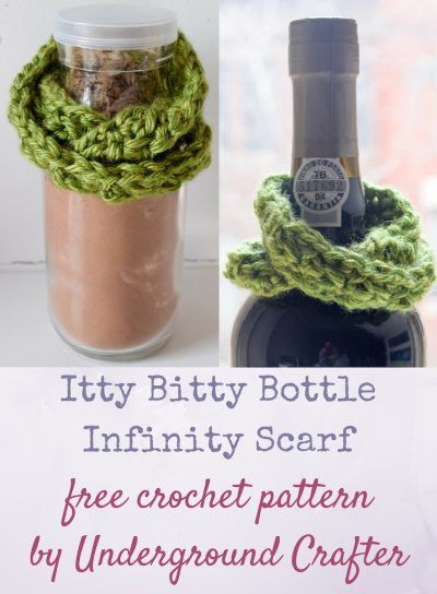 Itty Bitty Bottle Infinity Scarf, free crochet pattern in Lion Brand Heartland yarn by Underground Crafter | Add a handmade touch to a housewarming or host(ess) gift with this miniature infinity scarf that fits almost any bottle's neck.