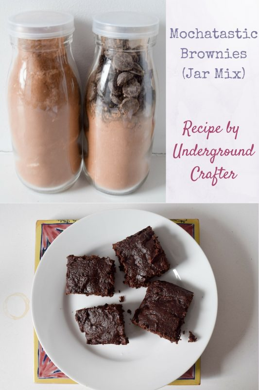 Mochatastic Brownies Jar Mix recipe by Underground Crafter | These yogurt brownies have a deep coffee flavor and you can eat as much raw batter as you'd like! These make the perfect gift for your favorite coffee lover.