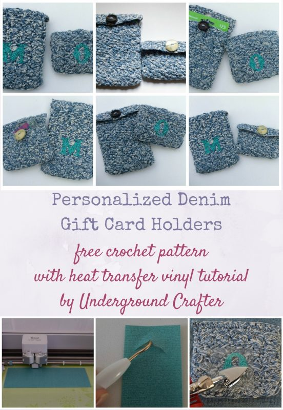Personalized Denim Gift Card Holders, free crochet pattern with heat transfer vinyl tutorial by Underground Crafter | These unisex gift card holders add a personalized, handmade touch to an otherwise impersonal gift. These are also a great way to use up small remnants of yarn and buttons from your stash! It's also a great beginner project for those new to heat transfer vinyl. #cricutmade #expressionsvinyl