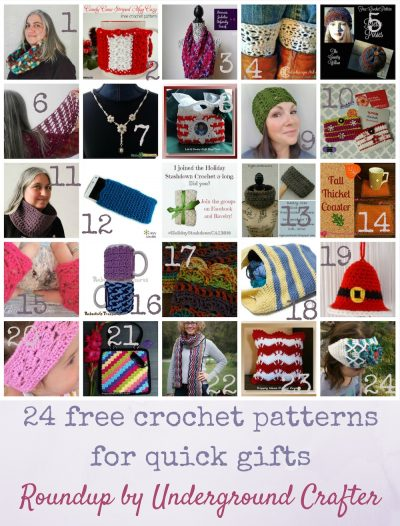 Roundup: 24 free crochet patterns for quick gifts, curated by Underground Crafter