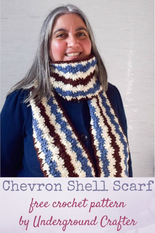 Chevron Shell Scarf, free crochet pattern in Imperial Yarn Erin by Underground Crafter | A classic chevron stitch in three colors adds the appearance of movement to this long, cozy scarf.