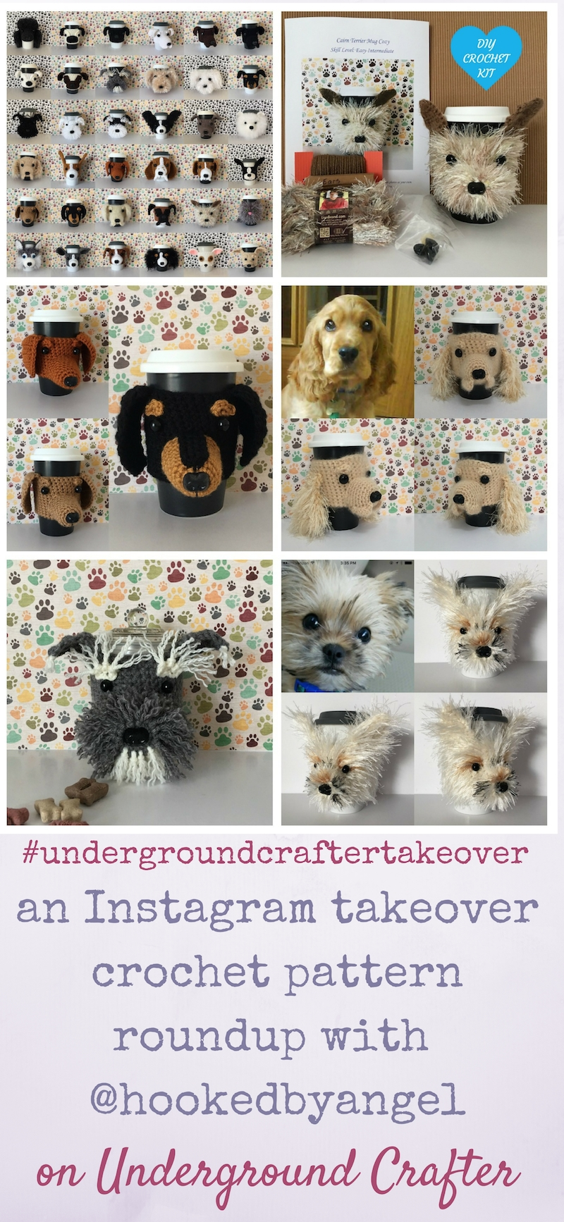 An Instagram takeover crochet pattern roundup featuring adorable dog cozy patterns by HookedByAngel on Underground Crafter