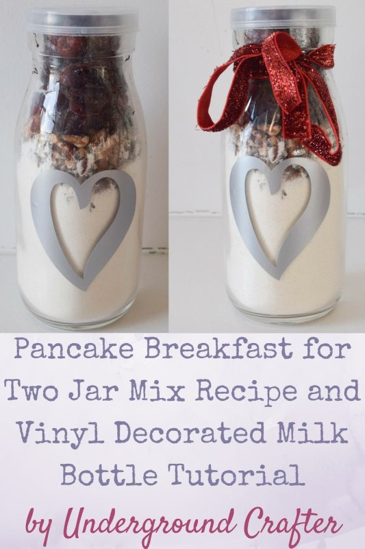 Pancake Breakfast for Two Jar Mix recipe with Vinyl Decorated Milk Bottle tutorial by Underground Crafter | Give your sweetie a special breakfast in bed. Makes a great gift for Valentine's Day, Mother's Day, Father's Day, or any other occassion! #expressionsvinyl #cricutmade