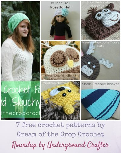 Roundup: 7 free crochet patterns by Cream of the Crop Crochet via Underground Crafter