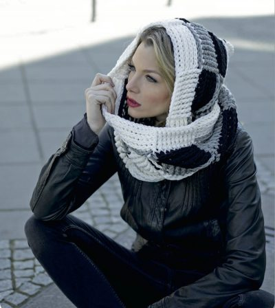 Crocheted Scoodies: 20 Gorgeous Hooded Scarves and Cowls to Crochet by Magdalena Melzer and Anne Thiemeyer | Book review, excerpt pattern (Black & White), and giveaway on Underground Crafter