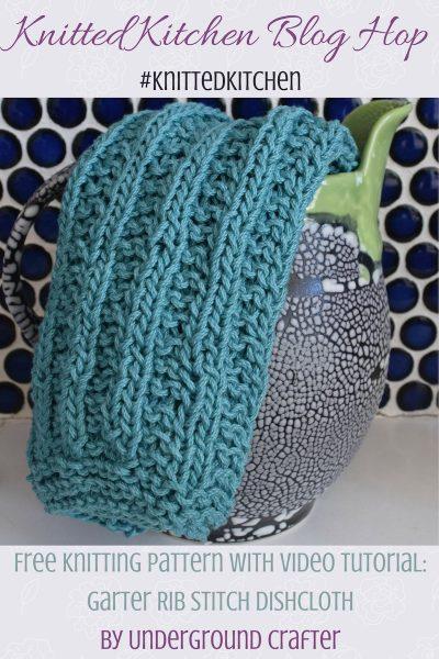 Garter Rib Stitch Dishcloth, free knitting pattern in Lion Brand 24/7 Cotton yarn with video tutorial by Underground Crafter   Knitted Kitchen Blog Hop: Learn A New Stitch Dishcloth Series 2017 (48 free dishcloth patterns with tutorials) #knittedkitchen