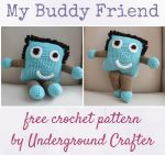 My Buddy Friend, free crochet pattern in Red Heart Super Saver by Underground Crafter | This simple toy, stuffed with Poly-fil, makes a portable pal for a child. It meets the donation requirements for My Recovery Buddy, a charity that distributes handmade, huggable buddies. This pattern is one of many great projects shared by designers as part of the Crochet Charity Drive.