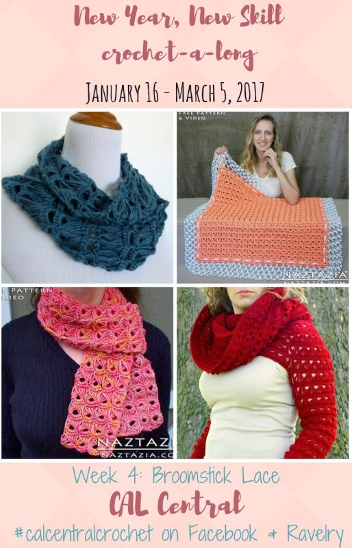 New Year, New Skill Crochet-a-Long with CAL Central - January 16 - March 6, 2017 - Week 4: Broomstick Lace featuring free crochet patterns by Speckless, Naztazia, and KatiDCreations via Underground Crafter