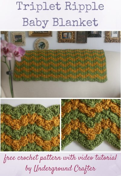 Triplet Ripple Baby Blanket, free crochet pattern with video tutorial in Lion Brand Heartland yarn by Underground Crafter | Trios of increases make a stunning ripple blanket with wide, gently curved peaks and deep, pointy valleys.
