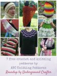 Roundup: 7 free crochet and knitting patterns by ABC Knitting Patterns via Underground Crafter