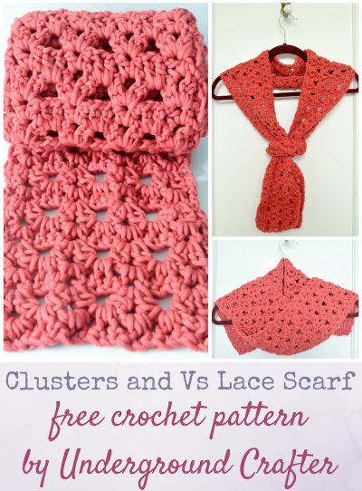 """Clusters and Vs Lace Scarf, free crochet pattern in Bernat Maker Home Dec Yarn by Underground Crafter 