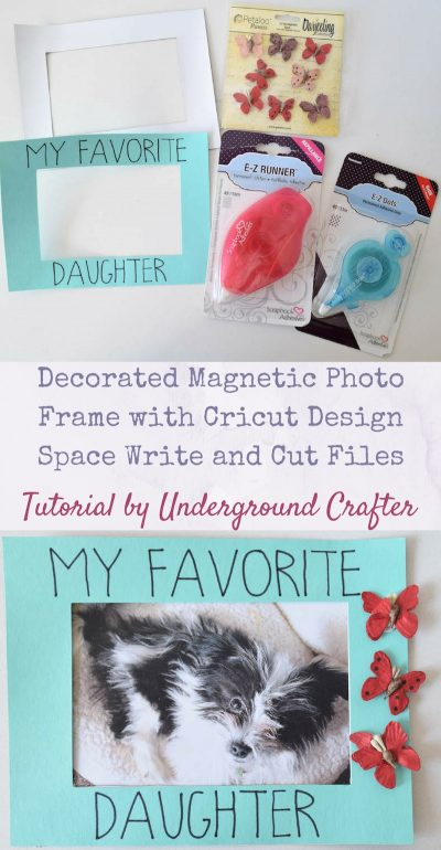 Decorated Magnetic Photo Frame tutorial by Underground Crafter | This 15-minute craft project includes Cricut Write and Cut files.
