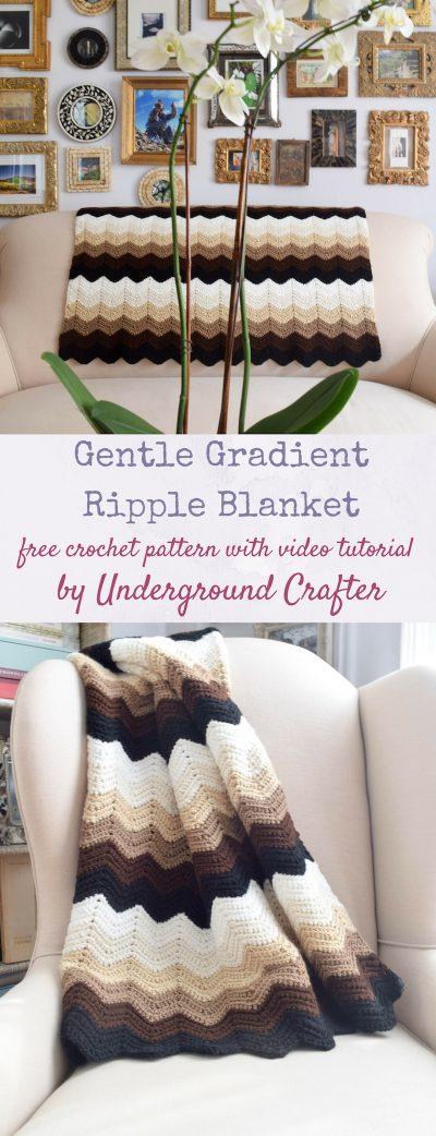 Crochet Pattern: Gentle Gradient Ripple Blanket with video