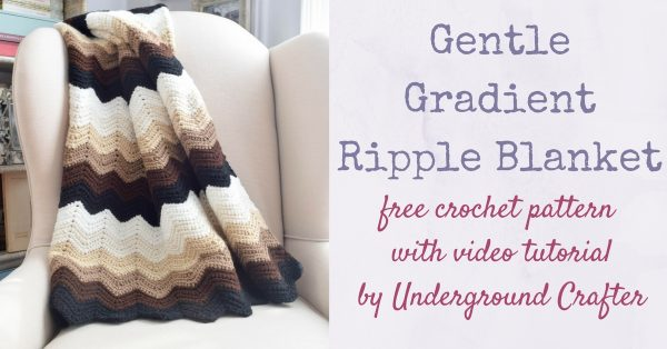 Gentle Gradient Ripple Blanket, free crochet pattern with video tutorial in Red Heart Super Saver yarn by Underground Crafter | This easy ripple pattern uses just one stitch and includes a video tutorial. This simple, beginner-friendly ripple pattern creates gentle waves. Use six colors or make it scrappy.