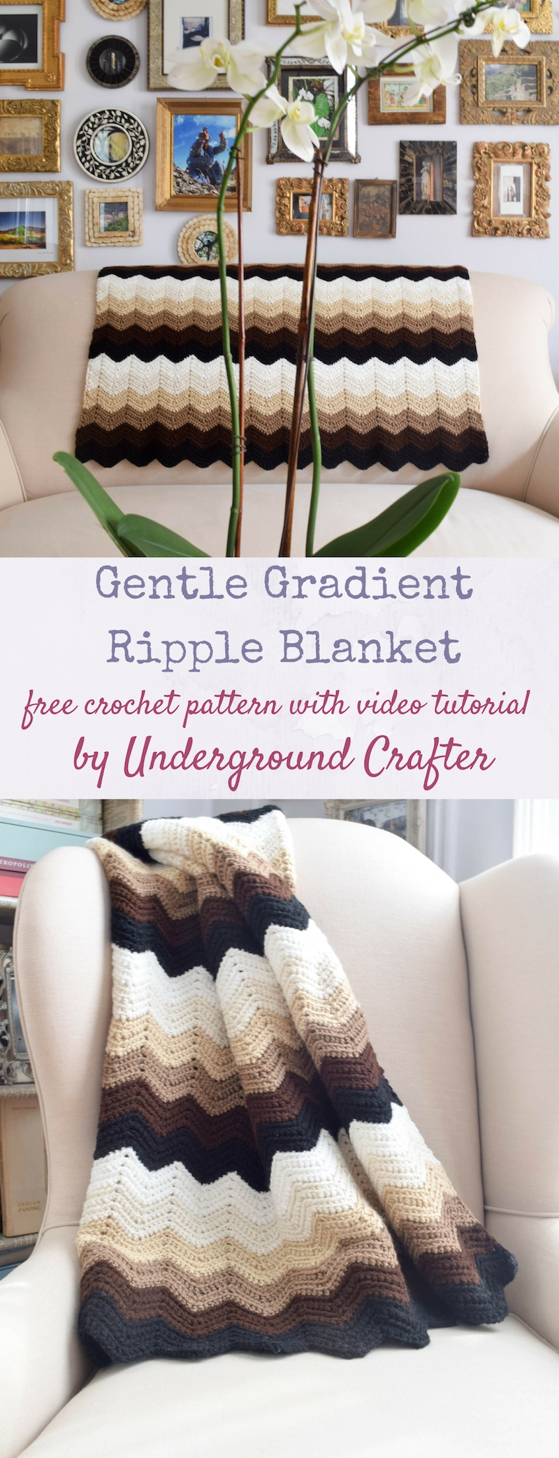 Gentle Gradient Ripple Blanket, free crochet pattern in Red Heart Super Saver yarn by Underground Crafter | This easy ripple pattern uses just one stitch and includes a video tutorial. This simple, beginner-friendly ripple pattern creates gentle waves. Use six colors or make it scrappy.