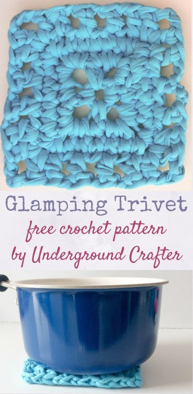 Glamping Trivet, free crochet pattern in Hoooked Zpagetti yarn by Underground Crafter. This pattern is part of Crochetville's 2017 National Crochet Month blog tour, featuring 80 crochet designers, giveaways, and more!